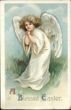 Easter - Sweet Little Girl Angel in White - Unsigned Clapsaddle c1910 Postcard