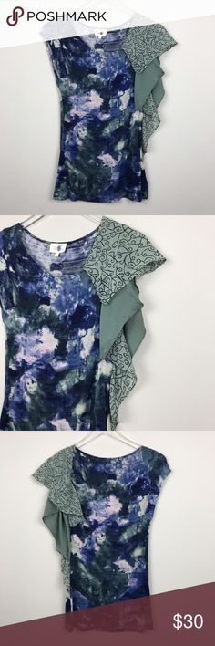 """[Anthropologie] Deletta Ruffle Sleeve Printed Top Soft and stretchy abstract print jersey top. Asymmetrical ruffle detail on left side. Fitted. By Deletta from Anthropologie.  🔹Pit to Pit: 16"""" 🔹Length: 26"""" 🔹Condition: Excellent pre-owned condition. Mark through label to prevent retail returns.  *K29 Anthropologie Tops Blouses"""