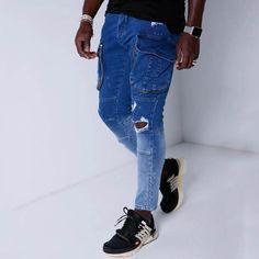 Paneled Side Zipper Pockets Solid Casual Jeans – maxgonia Ripped Denim, Denim Pants, Casual Jeans, Jeans Style, Plus Size Men, Track Suit Men, Jeans Material, Mom Jeans, Men's Jeans