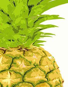 Pineapple - Original Art Prints  Colorful Kitchen Art 11 x 14 Green Fruit Pop Art bright happy summer beach australia