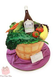 Vegetable Garden Birthday Cake for Liz's 40th birthday #cake #basket #wine #bottle #fondant