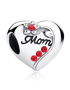 Authentic 925 Sterling Silver MOM Red Heart Bead Charms Fit Pandora Bracelets Necklace Mother 's Day Gift Trollbeads Armband, Bracelet Pandora Charms, Charm Bracelets, Pandora Jewelry, Silver Bracelets, Diy Jewelry Gifts, Fitness Bracelet, Love Charms, Photo Charms