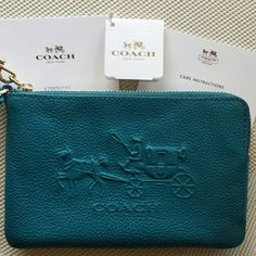 ☆HP☆   Coach wristlet. Pretty teal color!  A great first Coach accessory for you or an addition to your collection. No box, new with tags. Coach Bags Clutches & Wristlets