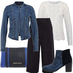 I pantaloni più alla moda in questa moda sono i crop pants, Li trovo carinissimi insieme ad una strana accoppiata come la maglia in candido pizzo, ed una marsina in jeans. Inconsueto anche l'abbinamento di blu e nero. che ritroviamo in scarpe e accessori.