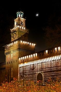 The Castello Sforzesco at night in Milan province of milan, Lombardy region Italy...