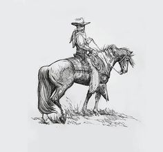 Pen and Ink  horse Print Western Painting #cowboy #horse #blackandwhite