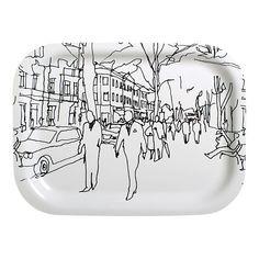 kitchenware—Marimekko laminate tray featuring the 2003 hand-drawn Hetkia pattern by Maija Louekari Marimekko Fabric, Glass Centerpieces, Small Tray, Curtain Patterns, China Art, China Patterns, Tray Decor, Crate And Barrel, Decoration