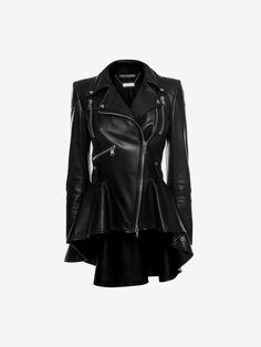 Alexander McQueen Leather Biker Jacket (this looks ah-mazing on) Peplum Leather Jacket, Black Leather Biker Jacket, Vest Jacket, Padded Jacket, Leather Jackets, Biker Jackets, Plus Size Leather Jacket, Alexander Mcqueen, Coats For Women