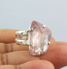 ROSE QUARTZ NATURAL GEMSTONE RINGS SOLID SILVER 925 STERLING JEWELRY 11 GM US 8 #Unbranded