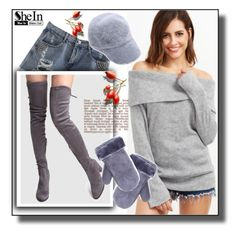 """""""GREY KNIT T-SHIRT - SHEIN"""" by jelena-880 ❤ liked on Polyvore"""