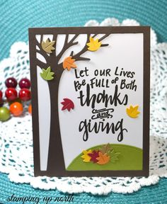 Hi everyone!     Today's card I made with Lawn Fawn's Leafy Tree Backdrop.   I cut it out in SU's chocolate chip, but it does lo...