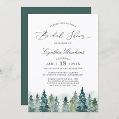 A Serene Winter Forest Themed Invitation Suite, with items from invitations to RSVP cards, Thank You cards, Stickers, Party Signs and more.