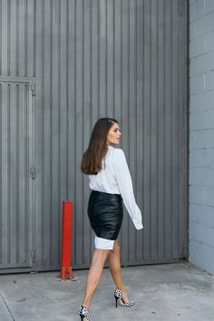 Jessie Chanes Seams for a desire - The Amity Company Oversized White Shirt Faux Leather Skirt Short Parka -10