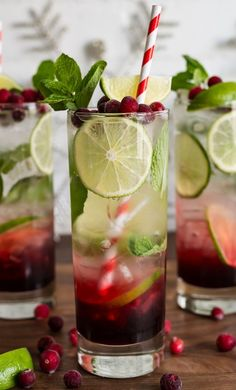 Spiced Hibiscus Cranberry Mojitos. A tasty cocktail treat for a Christmas party!