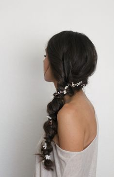 Braided bridal and everyday hairstyle with rhinestone floral garland of rose gold details, beads and white flowers by Love Sparkle Pretty. http://lovesparklepretty.com/shop/rosegoldgarland
