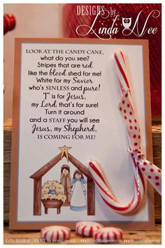 Legend of the Candy Cane Nativity - Card for Witnessing at Christmas - Jesus is the Reason for the Season - Printable - Christian - Jesus Legend of the Candy Cane - Printable 5 x 7 cards with poem that you can give away as gifts. Christmas Activities, Christmas Crafts For Kids, Christmas Printables, Christmas Projects, Christmas Traditions, Holiday Crafts, Holiday Fun, Christmas Holidays, Christian Christmas Crafts