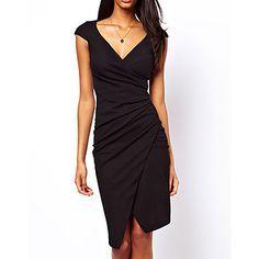 V profundo Neck elegante Midi Vestido das mulheres - BRL R$ 64,95