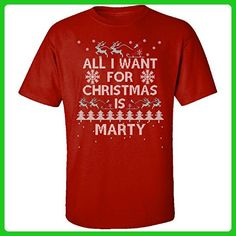 All I Want For Christmas Is Marty Ugly Sweater - Adult Shirt M Red - Holiday and seasonal shirts (*Amazon Partner-Link)
