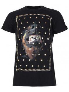Twisted Soul Mens Black Dog & Star Print T-Shirt