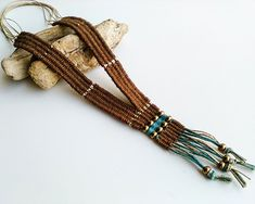 Native inspired long fringe necklace tapestry woven hemp