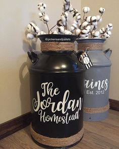 Another look at just how sleek these black cans are! . Farmhouse Style Decorating, Porch Decorating, Farmhouse Decor, Small Front Porches, Decks And Porches, Milk Pail, Milk Jugs, Milk Can Decor, Old Milk Cans