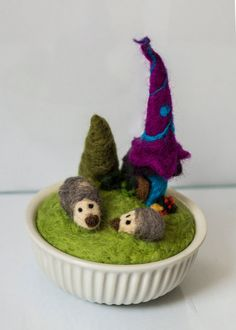 Fairy house with hedgehogs by SmallAtticBedroom on Etsy