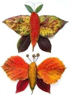 Autumn leaves creative decoration and craft ideas Basteln Autumn Crafts, Autumn Art, Nature Crafts, Fall Leaves Crafts, Diy For Kids, Crafts For Kids, Leaf Animals, Leaf Projects, Leaf Crafts