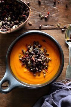 Carrot, Pumpkin and Turmeric Soup with Spicy Black Bean Topping - swoonfood.com