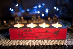 Candle holder in Christmas theme, Merry Christmas label, holds 4 tea lights Christmas Labels, Christmas Themes, Merry Christmas, Christmas Decorations, Wooden Candle Holders, Tea Light Holder, Tea Lights, Hold On, Candles