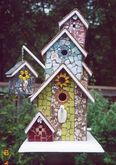Mosaic Birdhouse ~ via Flickr