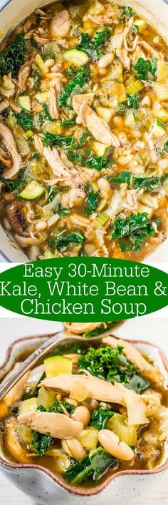 Easy Kale White Bean and Chicken Soup Loaded with juicy chicken healthy kale and tender beans Easy hearty and satisfying Love it when something healthy tastes s. Heart Healthy Recipes, New Recipes, Favorite Recipes, Kale Soup Recipes, Chicken And Kale Recipes, Recipies, Chicken And White Beans Recipe, Lunch Recipes, Cooked Kale Recipes