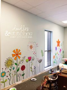 I just thought I'd share a recent project with you. I painted a mural on the wall in our elementary art room at church. The theme of this room is an outdoor park so I decided to paint a flower garden on the walls and supply cabinets. Flower Mural, Flower Wall, Wall Flowers, Bedroom Flowers, Mural Art, Wall Art, Diy Wall, Painted Wall Murals, Painted Wood