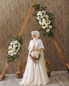 Image may contain: one or more people and flowers - Wedding Outfit Muslimah Wedding Dress, Muslim Wedding Dresses, Hijab Bride, Wedding Dress Sleeves, Bridesmaid Dresses, Dress Wedding, Modest Wedding, Dresses Dresses, Dance Dresses