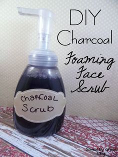 DIY Foaming Charcoal Face Scrub Recipe- Make your own charcoal scrub to fight blackheads and acne. Charcoal helps clear out pores for clean Skin. Try this DIY Natural cleaner.