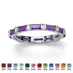 Bezel-Set Simulated Birthstone Sterling Silver Classic Eternity Band at PalmBeach