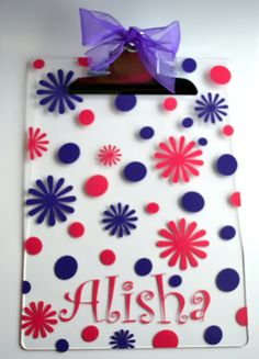 Acrylic Clipboard  PERSONALIZED by embellishboutiquellc on Etsy, $12.00