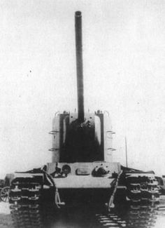 a kv-2 out fitted with a M-60 107 mm divisional gun M1940. the m-60 was a impressive gun that can penetrate a tank from 1,000m. the project was later canceled in favor of the Stalin tank series