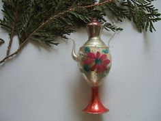 1920's Blown Glass Flower Teapot Christmas Ornament