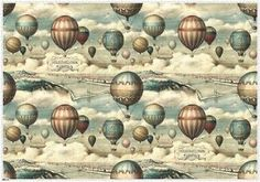 Hőlégballonok Budapest felett (Hot-air balloons over Budapest), a vintage ballooning illustration turned into wrapping paper by Bomo Art, Budapest