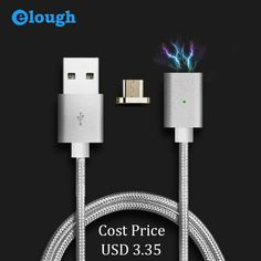 Elough USB Charger Automatic Adsorption Magnetic Cable Micro USB Cable For Samsung Android Phones Charge Magnet Micro USB Cables