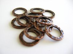 Hammered Copper Rings 12mm Metal Circles Hoops Round Rings Antique Plated Links Findings Wholesale Jewelry Supplies CrazyCoolStuff