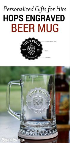 Deep carved on our high quality beer mug, this classic hops beer glass makes a bold statement and a great conversation piece. Have your order personalized with custom text to add that special touch to your bar or man cave. Find more beer gifts for him at barandbistro.com
