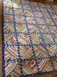 Large Vintage Double sided Fan patch crazy quilt 76 x 102.  Now that is how you use your scraps.