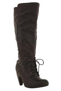 LOVE Jenny Black Lace-Up Buckle Boot (Wide Width)   $68.50 @Torrid