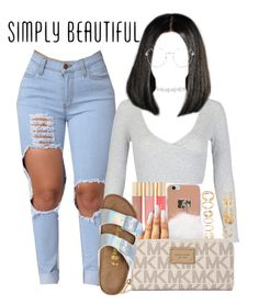 """Poppy"" by melaninprincess-16 ❤ liked on Polyvore featuring WithChic, Topshop, Forever 21, Michael Kors and Birkenstock"