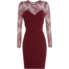 The Kooples Lace Bodice Cocktail Dress ($150) ❤ liked on Polyvore featuring dresses, red, cocktail dresses, red evening dresses, holiday cocktail dresses, slimming cocktail dresses and long sleeve cocktail dress