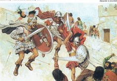 Alexander The Great gets wounded in India, by Peter Connolly. (Macedon/valley of the Indus/arrow wound/The Greeks - Burrell) History Of India, Ancient History, Art History, Greco Persian Wars, Alexandre Le Grand, Classical Greece, Greek Warrior, Medieval World, Alexander The Great