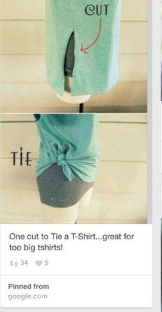 DIY t-shirt side tie