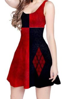 Harley Quinn Reversible Sleeveless Dress by StuffoftheDead on Etsy