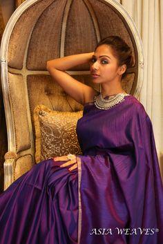 Purple Rain - Dupion Silk Saree